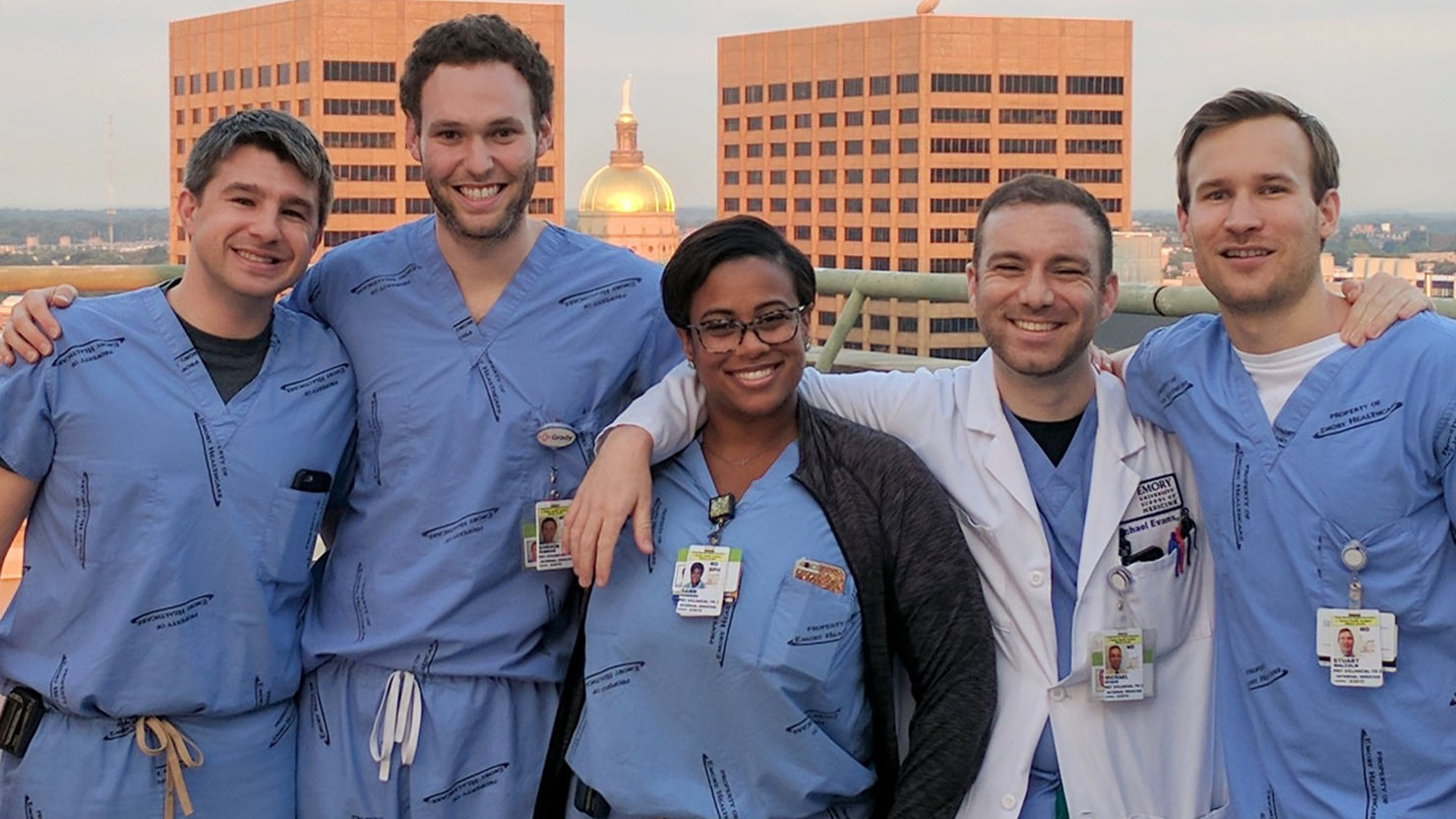 Residents on the Grady rooftop
